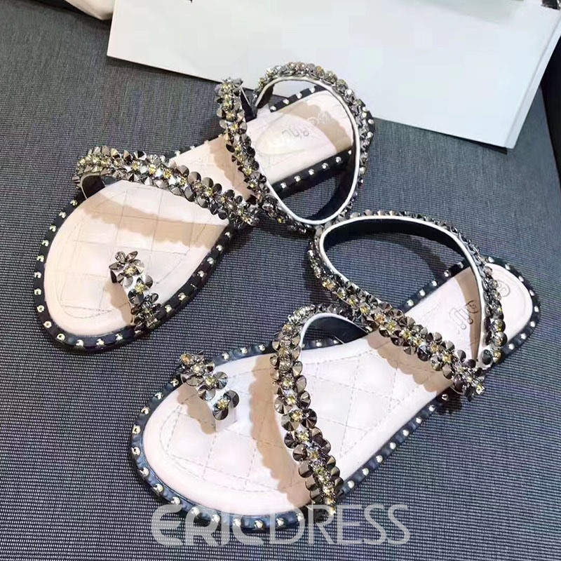 Ericdress PU Rhinestone Toe Ring Beach Sandals