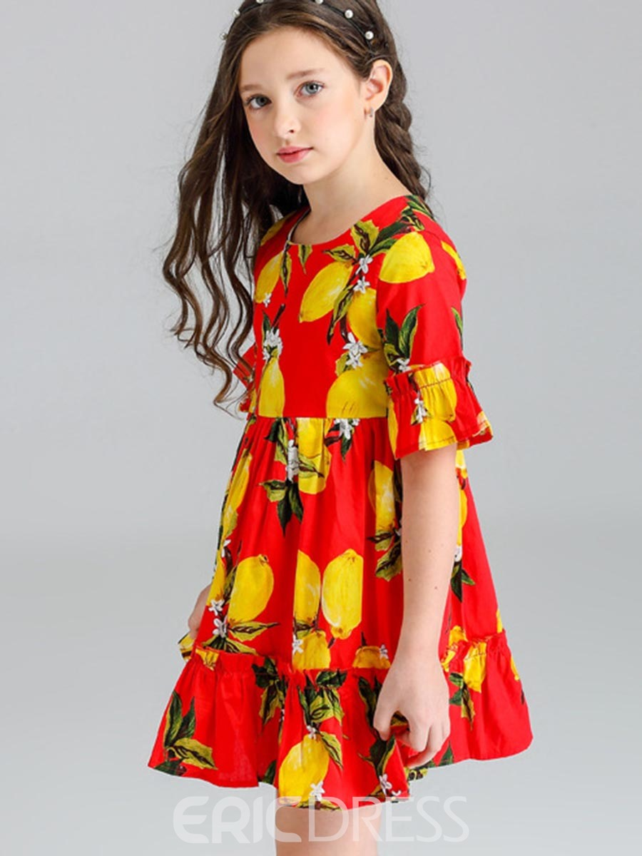 Ericdress Pastoral Bell Sleeve Fruit Printed Girl's Dress