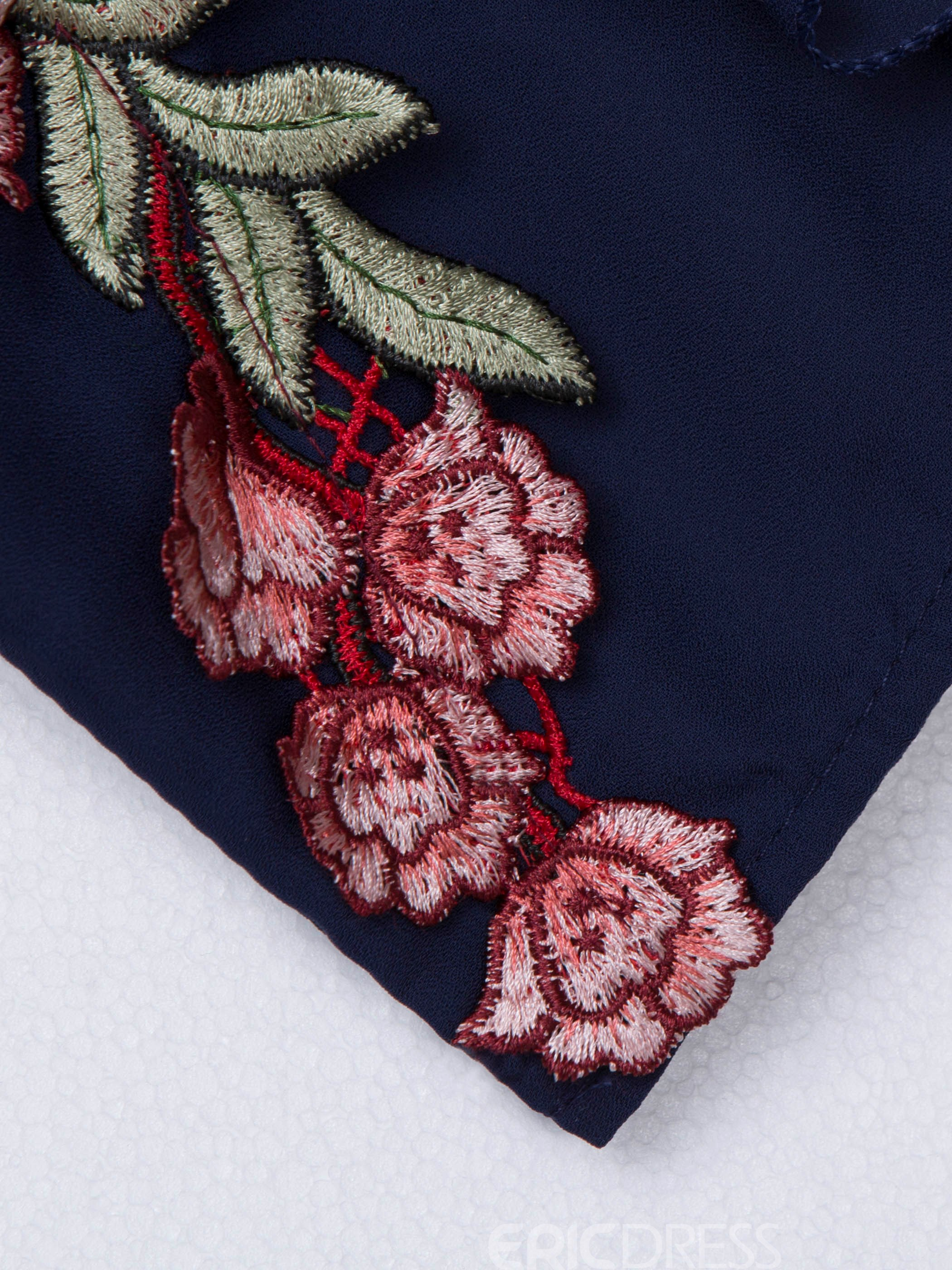 Slim High-Waist Floral Embroidery Women's Jumpsuit
