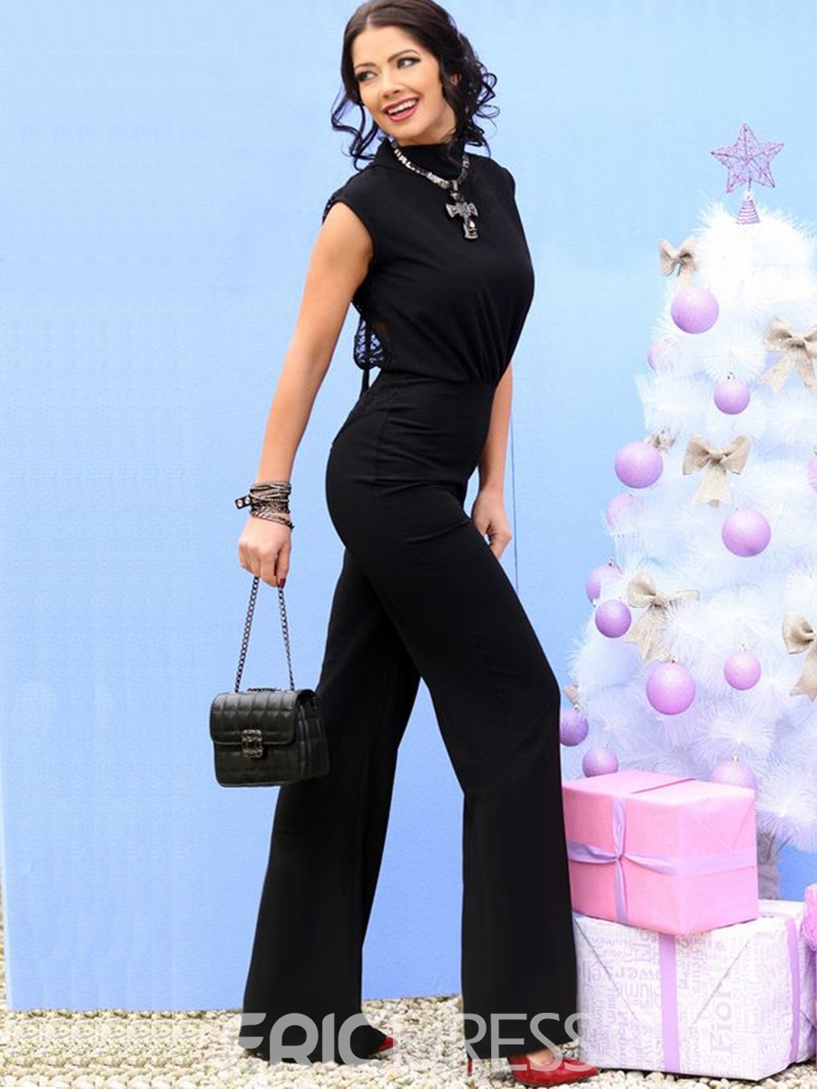 Ericdress Lace Hollow Backless Wide Legs Jumpsuits Pants
