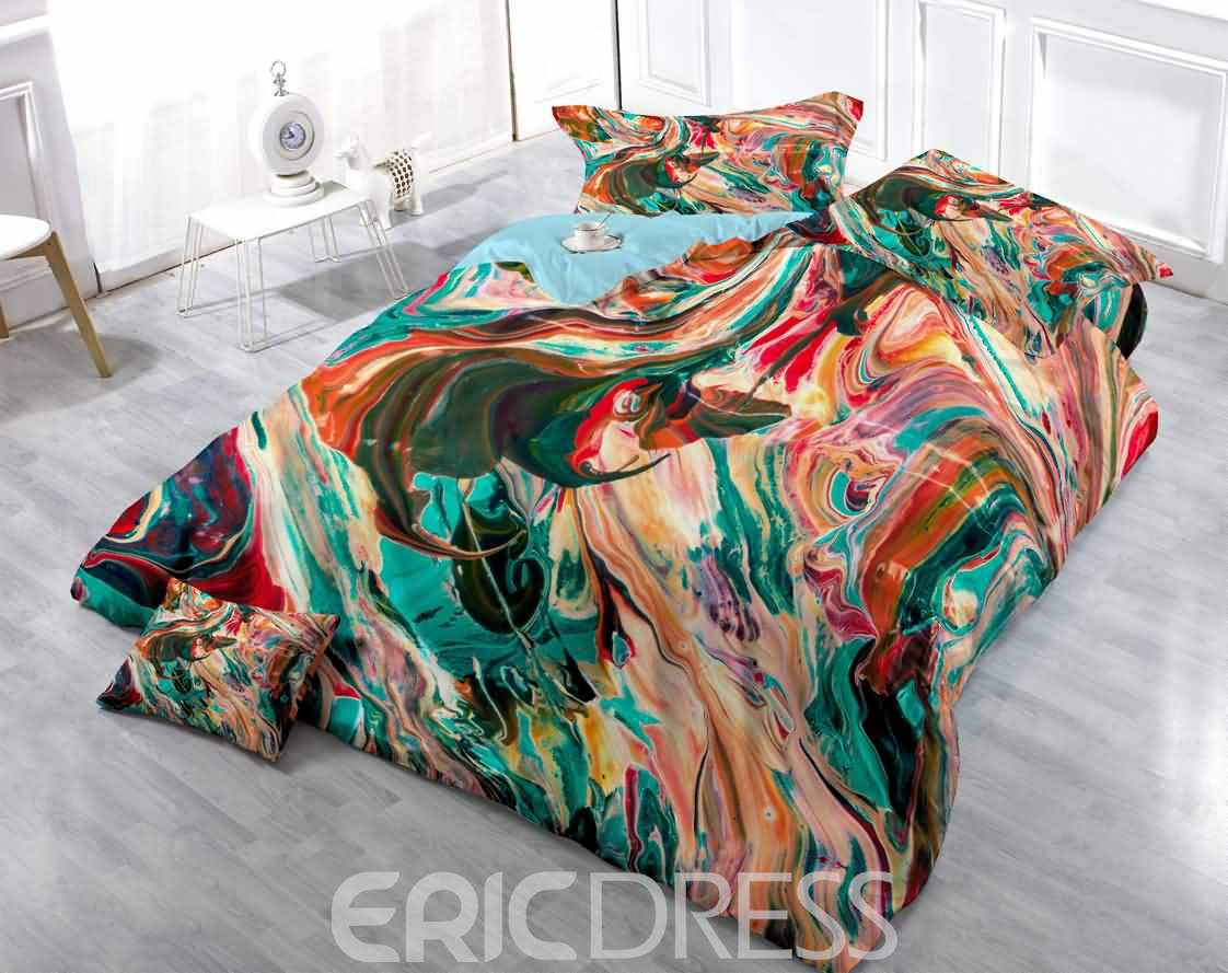3D Ink-Wash Painting Printed Colorful Cotton 4-Piece Bedding Sets/Duvet Cover