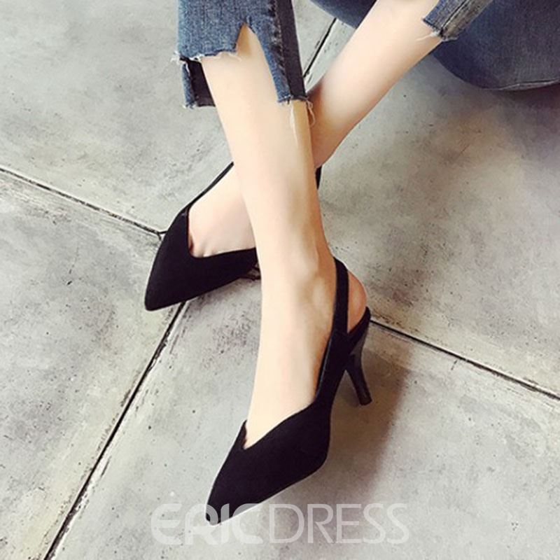 Ericdress Suede Point Toe Backless Stiletto Sandals