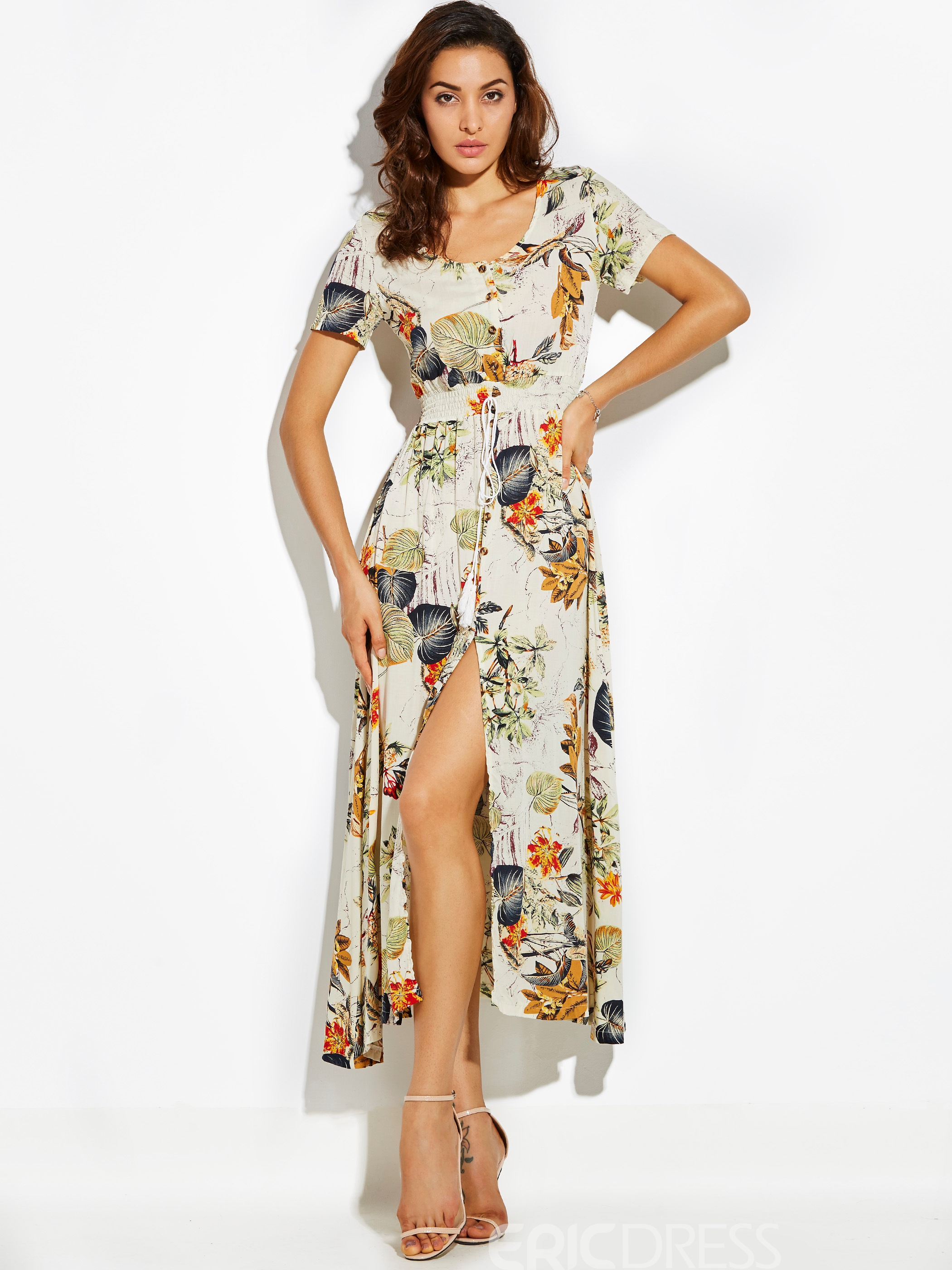 Ericdress Plant Print High-Waist Drawstring Maxi Dress