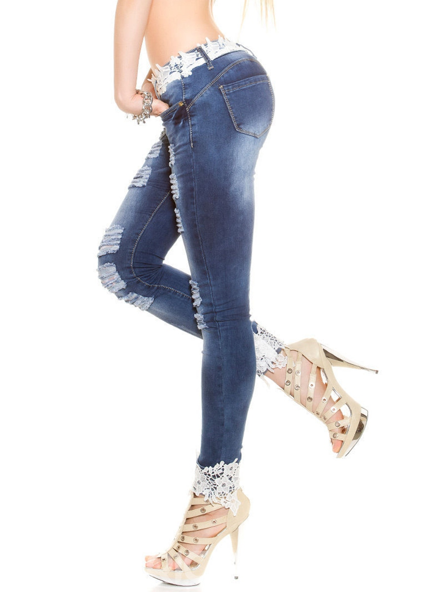 Ericdress Patchwork Lace Hollow Jeans
