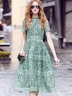 Ericdress Stand Collar Hollow Expansion Lace Dress