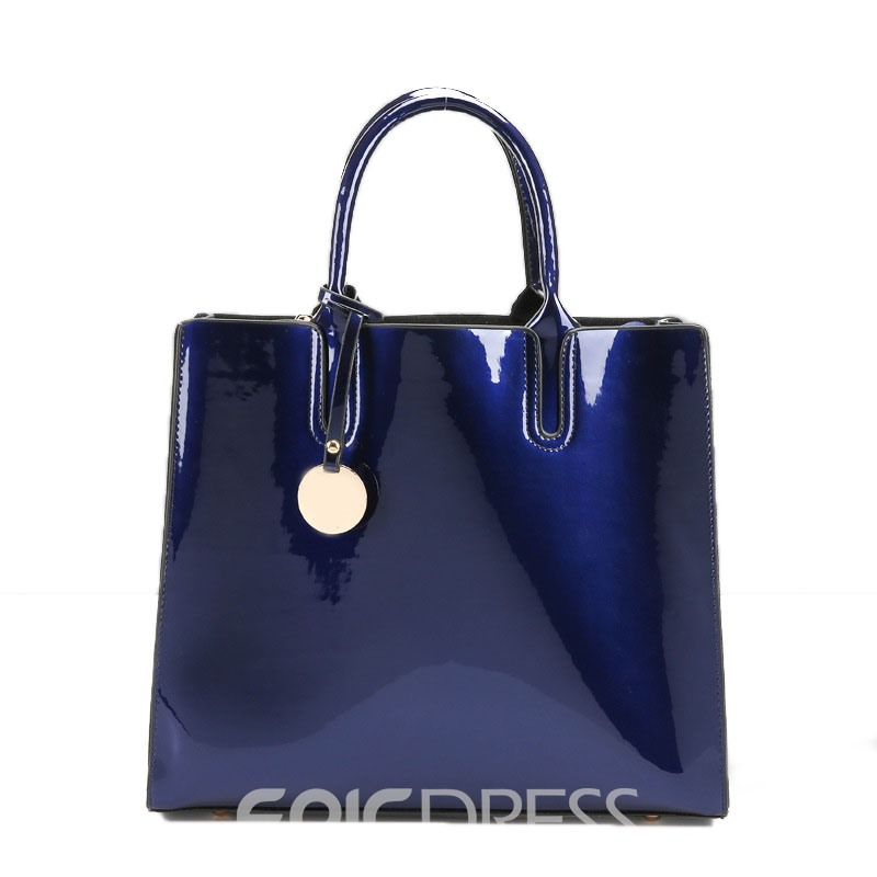 Ericdress Concise Glossy Solid Color Tote Bag 12880995