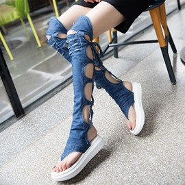 Ericdress Roman Denim Cross Strappy Thong Knee High Flat Sandals