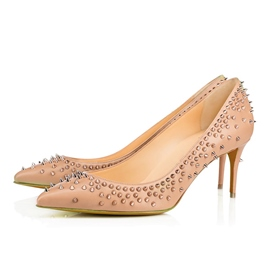 Ericdress Apricot Rivets Decorated Low Heel Pumps