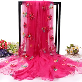 Ericdress Embroidery Chiffon Long Women's Scarf Many Colors