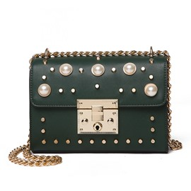 Ericdress Fashion Pearl Rivet Adornment Crossbody Bag
