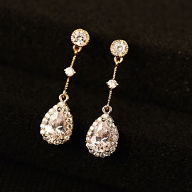 Ericdress Water-Drop White Sapphire Earring for Women