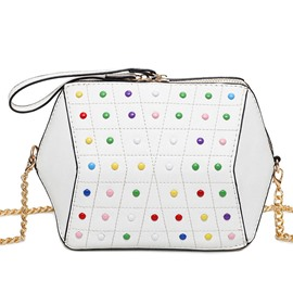 Ericdress Fashion Color Rivet Chain Crossbody Bag
