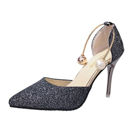 Ericdress Sequin Plain Pointed Toe Stiletto Heel Pumps with Beads