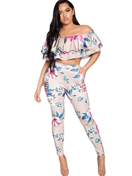 Ericdress Slash Neck Flower Print Leisure Suits