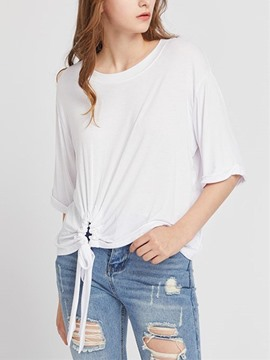 Ericdress Plain Straight Half Sleeve T-shirt