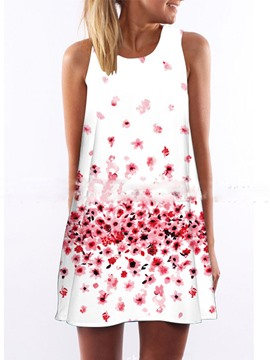 Ericdress Round Neck Floral Sleeveless Casual Dress