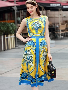 Ericdress Print Sleeveless Mid-Waist Color Block A Line Dress