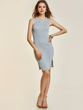 Ericdress Round Neck Hollow Sleeveless Sweater Dress