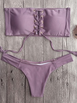 Ericdress Sexy Hollow Rectangular Top & Triangle Bottom Bikini Set