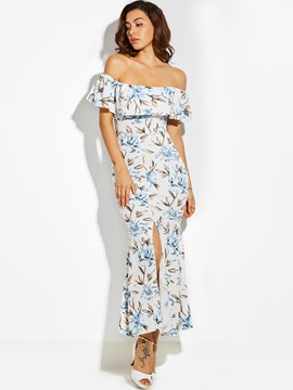 Ericdress slash neck imprimé floral falbala maxi dress