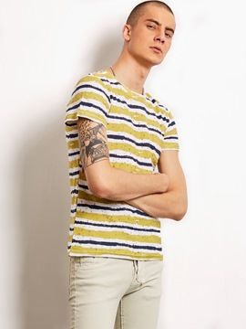 Ericdress Color Block Stripe Casual Locomotive Men's T-Shirt