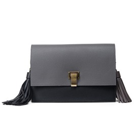 Ericdress Retro Solid Color Tassel Crossbody Bag
