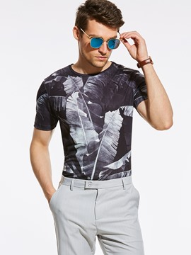 Ericdress Crew Neck Vogue Print Slim Men's T-Shirt