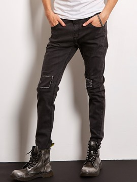 Ericdress Black Vintage Holes Denim Slim Locomotive Men's Pants