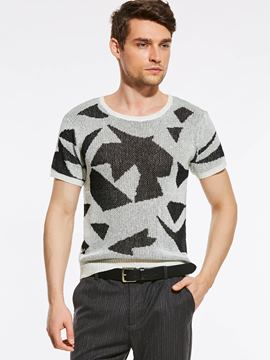 Ericdress Knit Color Block Pattern Vogue Casual Men's T-Shirt