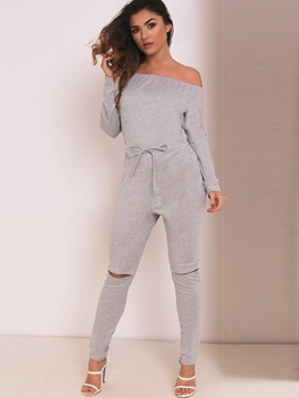 Ericdress Boat Neck Lace-Up Hole Jumpsuits Pants