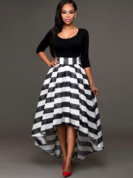 Ericdress Color Block Stripe High-Low Ball Gown Maxi Dress
