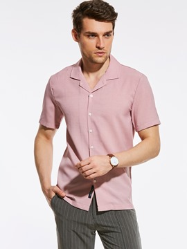 Ericdress Plain Laple Short Sleeve Vogue Casual Men's Shirt