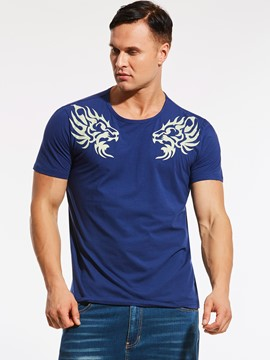 Ericdress Crew Neck Print Plus Size Men's T-Shirt