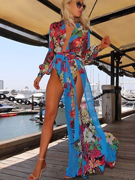 Ericdress Beautiful Long Sleeve Floral Beach Dresses