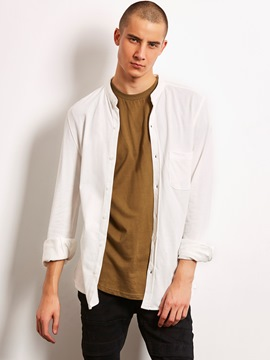 Ericdress Plain Stand Collar Loose Long Sleeve Locomotive Men's Shirt