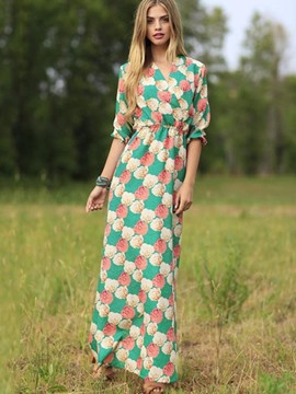 Ericdress Flowers Print Little V-Neck Half Sleeves Maxi Dress