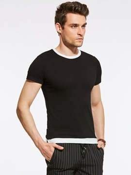 Ericdress Color Block Patched Crew Neck Short Sleeve Slim Men's T-Shirt