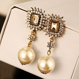 Ericdress Luxury Fully-Jewelled Pearl Earring for Women