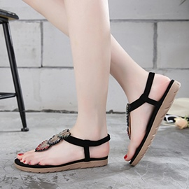 Ericdress Strappy Rhinestone Plain Flat Sandals