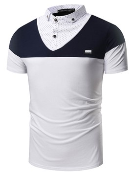 Ericdress Color Block Double-Layer Short Sleeve Men's T-Shirt