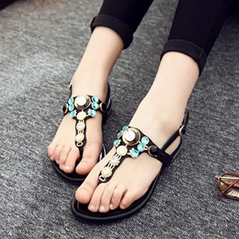 Ericdress Strappy Thong Rhinestone Flat Sandals