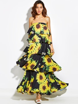 Ericdress Strapless Flower Print Backless Layered Dress