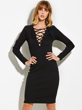 Ericdress V-Neck Lace-Up Long Sleeve Sweater Dress