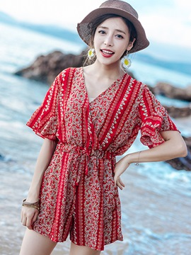Ericdress Short Sleeve Print Lace-Up Jumpsuits Pants