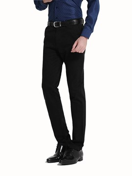 Ericdress Plain Bussiness Straight Slim Men's Pants