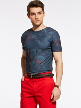 Ericdress Floral Short Sleeve Vogue Slim Men's T-Shirt