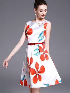 Ericdress Ladylike Flower Printing Sleeveless A Line Dress