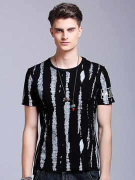 Ericdress Crew Neck Unique Stripe Men's T-Shirt