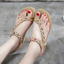 Ericdress Bohemian Elastic Band Toe Ring Flat Sandals