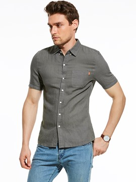 Ericdress Short Sleeve Plain Pocket Slim Men's Shirt
